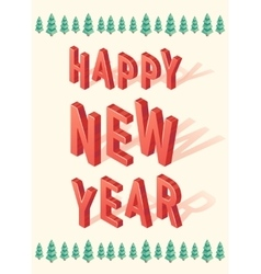 New Year greeting card christmas tree 3d Isometric vector image vector image