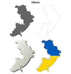 Odessa blank outline map set vector
