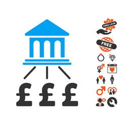 pound bank scheme icon with valentine bonus vector image vector image