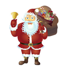 Santa claus with bell isolated christmas new vector