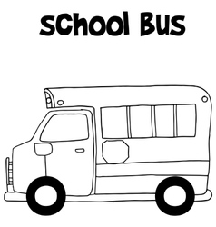 School bus with hand draw vector image