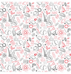 School supplies seamless pattern doodle hand drawn vector