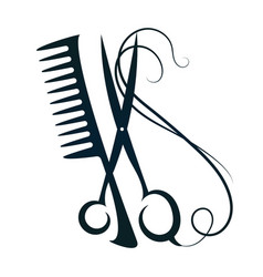 Scissors and comb hair vector