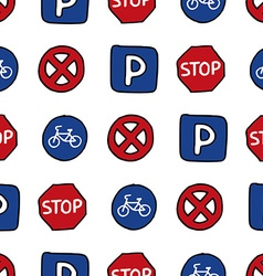 Seamless pattern of dooles road signs vector