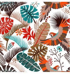 Seamless pattern with palm leaves and vector
