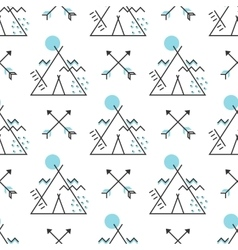 Seamless pattern with stylized wigwam and arrows vector