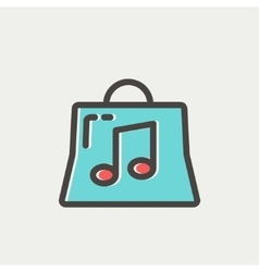 Shopping bag with musical note thin line icon vector image vector image