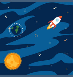 space with rocket vector image vector image