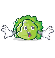 Surprised lettuce character cartoon style vector