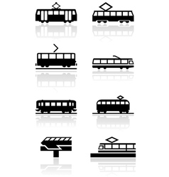 train symbol set vector image vector image