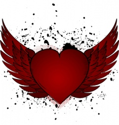 valentine heart and wings vector image vector image