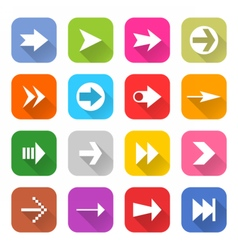 Arrow sign web icon set flat style vector