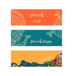 Horizontal banners set with peacocks vector image