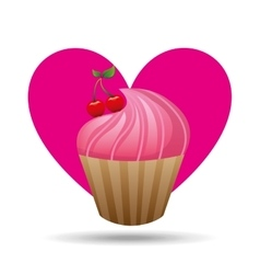 Heart cartoon pink cupcake sweet cherry icon vector