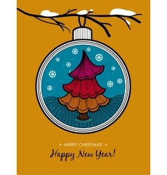 Greeting card with glass ball and christmas tree vector