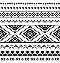 Tribal seamless pattern aztec black and white vector