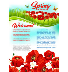 Spring time flowers holiday greeting poster vector