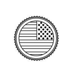 United state of america flag on button border vector