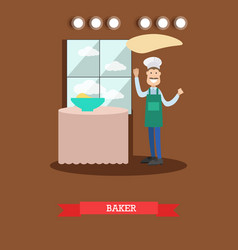 flat of baker making dough vector image
