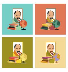 Assembly flat icons ukrainian literature lesson vector