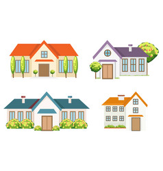 Colorful residential houses collection vector