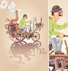 Inventor and his steam car vector