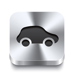 Square metal button perspektive - car icon vector