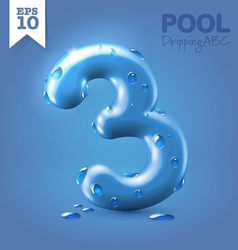 Wet blue glossy font vector