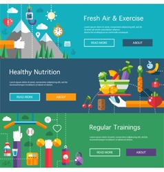 Set of flat design sport fitness and healthy vector