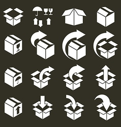 Packaging boxes icons set pack simplistic symbols vector