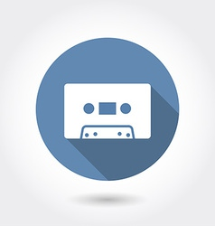 Hipster audio or cassette icon with long shadow vector