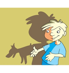 Cartoon boy and dog vector