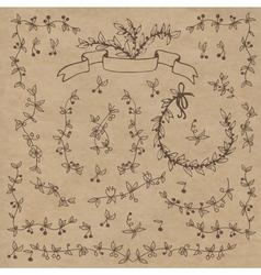 Floral doodle set decorations Elements vector image