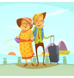 Senior couple traveling vector