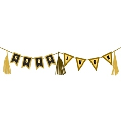 Flat good luck banner gold and black vector