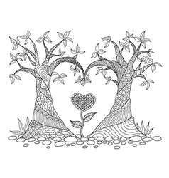 two trees heart shape colorling vector image