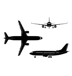 Black airplane silhouette on a white background vector image