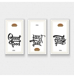 Fast fresh good food - labels stickers hand vector