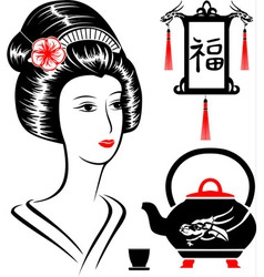 Asian set vector image