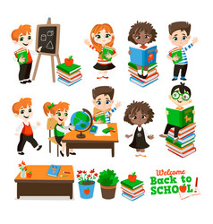 Back to school set with pupils vector
