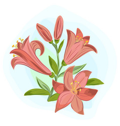 Beautiful gift card with orange lilies vector