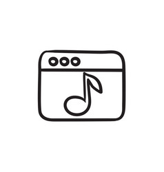 Browser window with music note sketch ico vector