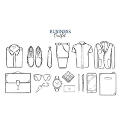 Business clothing sketch set vector