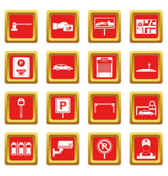Car parking icons set red vector