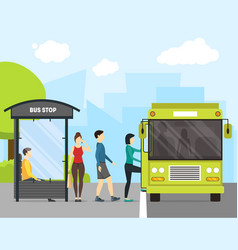cartoon bus stop with transport and people vector image vector image