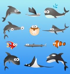 cartoon fish characters vector image