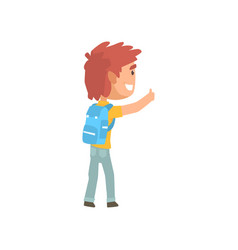 cartoon male traveler hitchhiker with backpack vector image