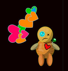 Cartoon voodoo doll character vector