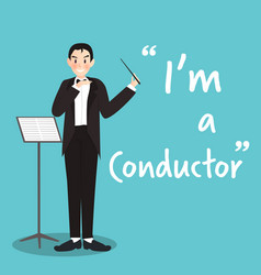 Conductor character on sky blue background flat vector