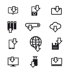 Different devices downloading line icons vector image